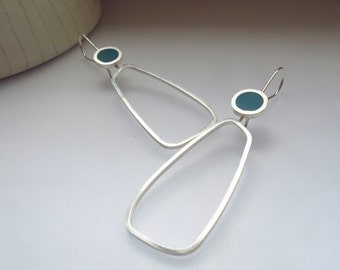 Pop Teal Hoop Earrings - Sterling Silver & Resin Earrings - Lightweight Modern Silver Hoops - Gift for sister - Quercus Silver