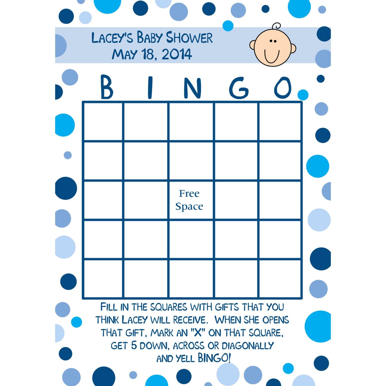 Make Your Own Bingo Card: 24 Personalized Baby Shower Bingo Cards Blue Polka Dot