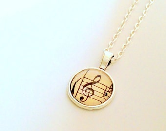 """NEW - Vintage Sheet Music G Clef -18"""" Ball chain - 18mm Glass Cabochon Pendant - perfect gift for Music Teacher"""
