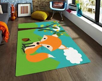 Fox rug ,Kids Rugs, Decorative Rug, modern rug, nursery rug, carpet, nursery decor, contemporary rug, living room decor