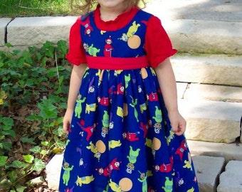 TELETUBBIES on BLUE Jumper Dress Custom Size PO