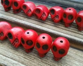 Red Skull Beads 13 pieces solid stone skulls jewelry making supplies