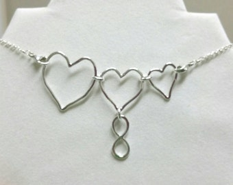 Heart Necklace, Mama Metal, Connected Hearts, Breastfeeding Necklace, Nursing Links Necklace, Nursing Necklace Jewelry Maggie McMane Designs