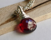 PENDANT ONLY, 9mm Garnet pendant, Charm Only, Garnet Necklace, Garnet Pendant, Wire Wrapped, Sterling Silver