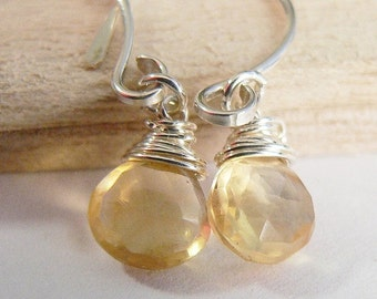 SALE Citrine Earrings, Faceted Citrines, November Birthstone, Sterling Silver, Wire Wrapped, Sterling Silver Dangle Earrings