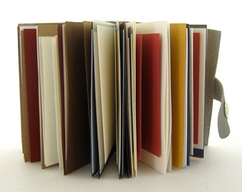 Artist's Book, Grey Leather Journal, Small Sketchbook, Multicolor Pages, Grey Sketchbook, Pocket Notebook, Leather Gifts