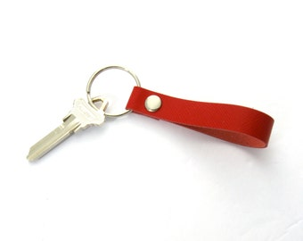 Red Nautical Key Fob Red Leather Key Ring Women's Keychain Handmade Leather Goods Red and Silver Key Fob Handmade in Texas Nautical Key Ring