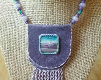 Beaded Leather Amulet Bag, Majesty OOAK