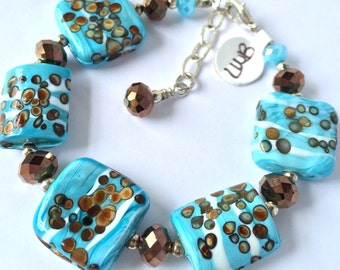 Gorgeous Large Square Turquoise &Brown Lampwork Lamp Work Bead Copper Crystal Bead Beaded Bracelet