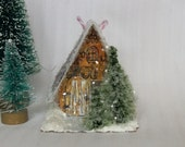 Reserved for Chris / Vintage Putz Style Glitter House Handmade Miniature Farm House Alpine Cottage Christmas Village or Holiday Ornament