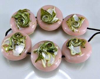 Pink Green Ivory Lampwork Bead Set
