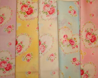 SALE 1/2 Yard Fabric Bundle Heart Wreath Roses 31266 by Lecien Fabrics Princess Rose Collection Clearance 2.5 Yds Total