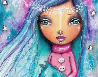 Snow Princess with Wolf - Art Print