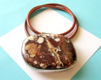 Navajo Wild Horse Magnesite and Sterling Silver Leather Necklace