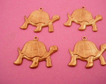 4 raw  brass  turtle charms 20x25mm pendants  pond nature woods