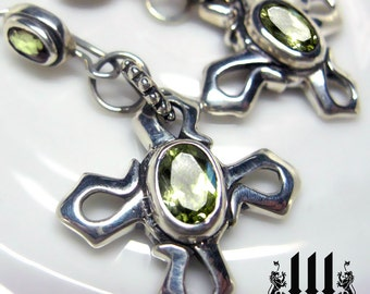 Celtic Cross Flower Earrings Gothic Green Peridot Stone