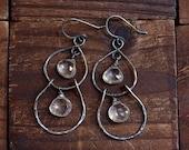Rock Crystal Quartz Sterling Silver Earrings - Sparkle Chandelier Earrings - Rustic Oxidized Silver Earrings - Double Hoop Earrings