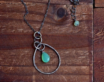Sterling Silver Chrysoprase Teardrop Pendant Necklace - Oxidized Silver Hoop Necklace - Mint Green Necklace - Simple Rustic Necklace