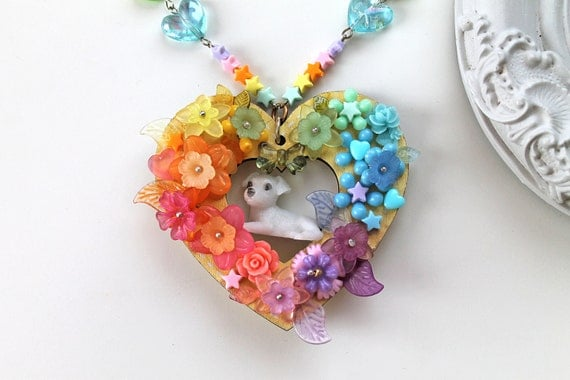 Kawaii fairy kei necklace dog puppy fairy kei rainbow flowers extravagant lolita