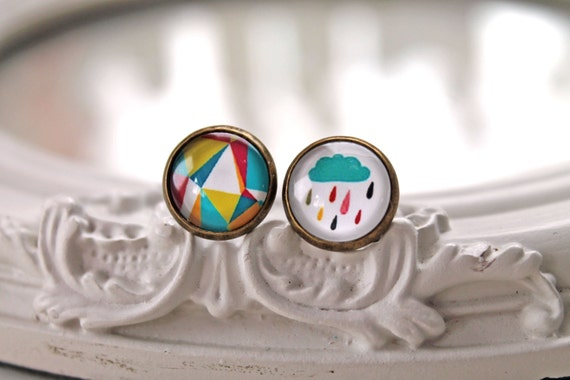 Mismatched rain cloud and geometric pattern clip earrings sweet lolita feminine