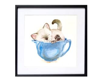 Original Siamese Kitten Watercolor Painting Nursery wall art decor, Blue painting, Framed painting, Kitty, LaBerge, 10 x 8