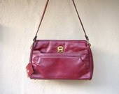 "70s Etienne Aigner shoulder bag / burgundy leather WITH TAGS / wide 12"" oxblood DEADSTOCK"