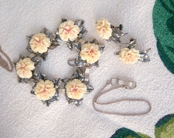 1950s Hawaiian bridal jewelry set / STERLING silver, carved double hibiscus flowers / Signed RARE, beach wedding engagement set