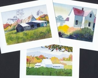 Boxed Note Cards-Watercolor scenics printed from original paintings