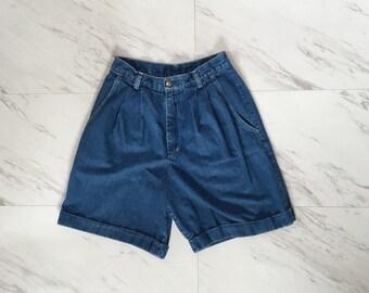 Pleated jean shorts   Etsy
