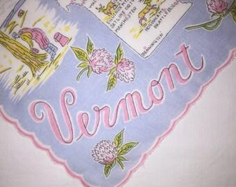 Vintage State of Vermont Hanky - Hankie Handkerchief