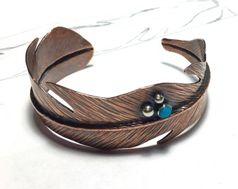 Copper Flight Feather Cuff Bracelet with Turquoise Accent