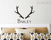 Antler Name Wall Decal • Name Wall Decal • Deer Nature Monogram Wall Decal • Nursery bedroom boy girl • Made in USA