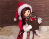 Christmas caroler doll centerpiece tree topper vintage retro inspired red green holiday doll christmas decor