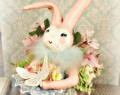 Easter centerpiece pastel spring decor paper clay bunny rabbit pink bunny Easter decorated box butterfly vintage retro inspired ooak art