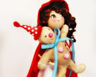 Fraulein tree topper with gingerbread man German girl tree topper centerpiece red white and blue European inspired ooak art doll vintage
