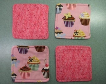 Drink Coasters - Set of 4 - Cupcakes on Pink