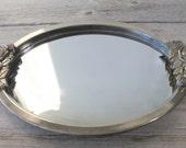 Vintage Silver  Mirror, Silver Vintage Mirror, Oval,  Filigree , Vanity Mirror, Dresser