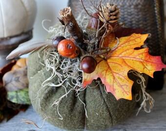 Woodland Pumpkin, Fabric Pumpkin, Fall tabletop,Centerpiece, Autumn Decor, Thanksgiving, Halloween,Wedding, Sage Green, Lodge Decor, Rustic