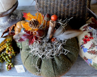 Woodland Pumpkin,#5 Fabric Pumpkin, Fall tabletop,Centerpiece, Autumn Decor, Thanksgiving, Halloween,