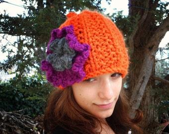 Woman hat warm winter hat chunky flower beanie crochet knit pumpkin beanie women vegan acrylic hat orange purple charcoal grey gray trendy