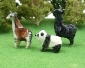 fantastic safari set - okapi llama and panda - terrarium miniatures