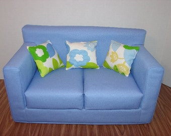 18 Inch  Doll  Couch - Sofa -  Blue - Handmade Doll  Furniture