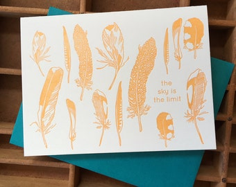 letterpress feathers card sky is the limit