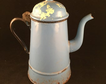 Vintage Blue Granite Ware Coffee Pot with Hinged Lid