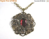 ON SALE Art Nouveau Style Necklace / Brass Filigree Necklace with Deep Red Vintage Glass Cabochon / Adjustable Necklace