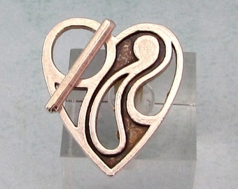 Heart Toggle Clasp, Antique Silver AS400
