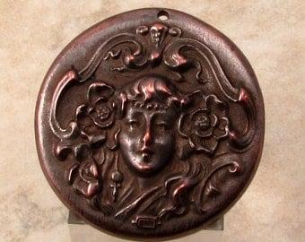 Maiden Pendant, Antique Copper, Art Nouveau, Greek Casting, M438