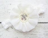 Ivory Chiffon Flower with Pearl Rhinestone Accent on Ivory Lace Headband Newborn Prop Baptism Wedding Headband