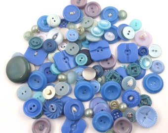 Large Lot of 103 Beautiful Vintage Assorted Blue Buttons