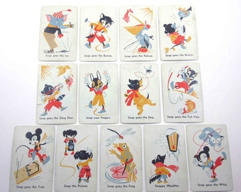 Vintage 1950s Children's Animal Snap Playing Cards Set of 13